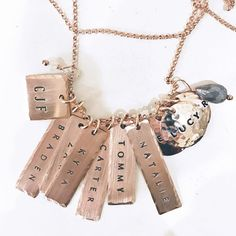 Whole lotta charms! Three Sisters Jewelry, Whole Lotta Love, Personalized Jewelry, Precious Metals, Hand Stamped, Initials, Bangles, Feminine, Rose Gold