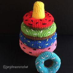 Crochet Donut Stacker! Pattern by crochetbycmfisher. #crochet #crochetaddict…