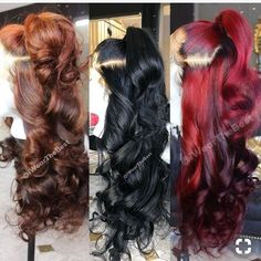 Red Wigs Lace Frontal Wigs Auburn Hair With Highlights From Blonde To Red Baby Blue Wig Aquaman Red Wig Spicy Red Hair Color My Hairstyle, Wig Hairstyles, Black Girls Hairstyles, Summer Hairstyles, Colored Weave Hairstyles, Indian Hairstyles, Auburn Hair With Highlights, Wig Styling, Curly Hair Styles