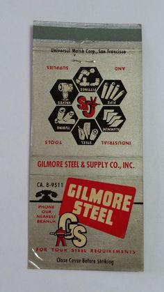 GILMORE STEEL & SUPPLY COMPANY THE ARISTOCRAT #MatchBook Cover To order your business' own branded #matchbooks or #matchoxes GoTo: www.GetMatches.com or CALL 800.605.7331 to Get The Process Started Today!