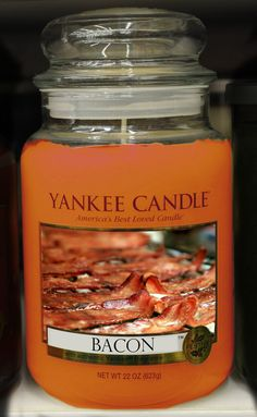 Man Candles. I feel like cooking regular bacon to smell it would be better. Then you could eat it?