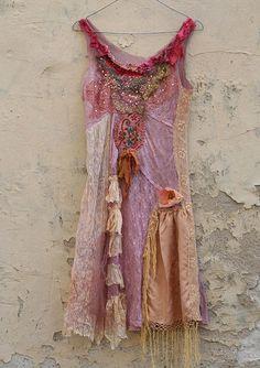Adventuress- light whimsy bohemian inspired slip dress, altered, textile collage, wearable art, hand beaded