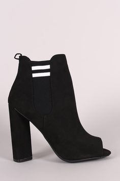 f1b034819840 Qupid Suede Stripe Knit Inset Peep Toe Chunky Heeled Ankle Boots