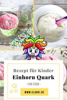 Auf meinem Blog zeige ich dir ein leckeres und einfaches Rezept für einen bunten Einhorn Quark mit Zuckerstreusel. Die Rezept Idee kannst du dir sogar kostenlos herunterladen und nach Wunsch ausdrucken.  #clarkidiy #clarki #clarkiblog #clarkifood #einhorn #unicorn #kinderrezept #vegetarisch #aufstrich #dip #brotaufstrich #essen #kochen #kinder Snacks, Dip, Cereal, Breakfast, Blog, Craft Instructions For Kids, Ice Cream Cups, Creative Food, Recipes For Children