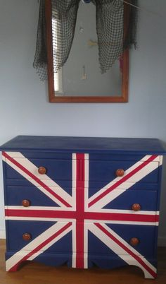 Union Flag Bureau with Napoleonic Blue, Old White and Emperor's Silk Chalk Paint® decorative paint by Annie Sloan by the Silver Pennies blog.