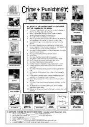 Crime & Punishment - 8 exercises (+KEY) - ESL worksheet by Carlota_24 Reading Worksheets, Esl, Crime, Exercises, Jokes, English, Husky Jokes, Exercise Routines, Excercise