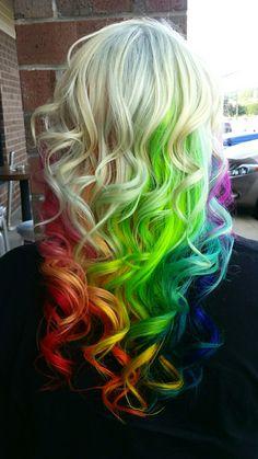 Crazy hair color rainbow hair hair styles, rainbow hair и hair. Hair Color Blue, New Hair Colors, Cool Hair Color, Purple Hair, Ombre Hair, Extreme Hair Colors, Colored Hair Extensions, Coloured Hair, Unicorn Hair