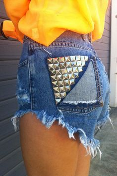 Diy Jean shorts Higher on the outsides, longer in inside & back. #DIY