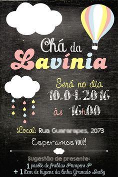 Arte Convite Nuvem Chalkboard (digital)