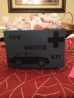 NEW DRIVER KIT. Include everything a new driver might need on the road air freshener, wet wipes, hand lotion, contact solution, eye glasses cleaner, breath mints, etc.