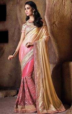 Picture of Mesmeric Salmon and Beige Party Wear Sari Online