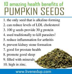 10 benefits for Pumpkin seeds Healthy Foods To Eat, Healthy Tips, Healthy Eating, Healthy Recipes, Pumpkin Seeds Benefits, Natural Medicine, Fitness Tips, Health Fitness, Healthy Pumpkin