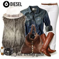 diesel fur vest, tall cognac boots, denim shirt