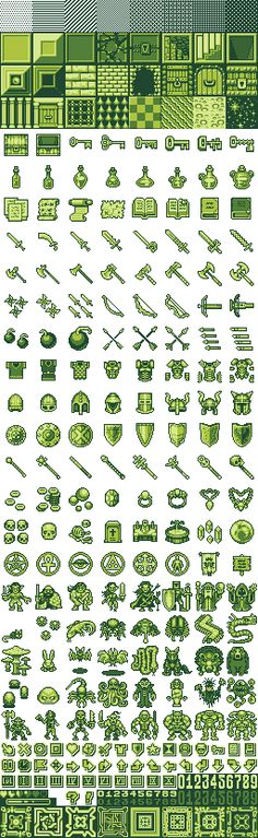 Various stuff: items, wepons, monsters, heroes, doors, walls, letters, HUD elements... 8 shadesof dithering for shadows) 24 tiles 144 sprites 45 icons (8x8 pixels) 2 font numbers 8 HUD borders (8x8 pixels)