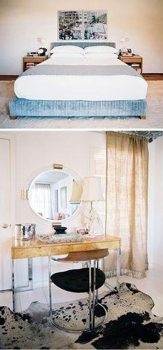Vintage vanity + cowhide rug + burlap curtains with fringe!