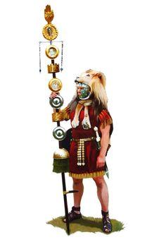 Roman Signifer of the early second century AD. Roman Warriors, Celtic Warriors, Ancient Rome, Ancient History, Roman Armor, Roman Legion, Roman Soldiers, Roman History, Roman Empire