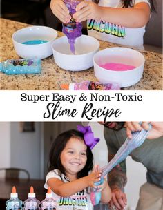 Easy, Non-Toxic Slime Recipe Since my oldest is only 4 years old, she hadn't really heard much about making Slime. Honestly, I didn't mind this at all, because it looked messy and sticky and just not something I felt like we needed to make. Make Slime For Kids, How To Make Slime, Making Slime, Homemade Slime, Diy Slime, Diy Crafts To Sell, Diy Crafts For Kids, Easy Slime Recipe, Slime No Glue