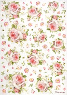Rice Paper for Decoupage, Scrapbook Sheet, Craft Paper Small Pink Roses