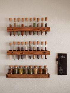 Test tube spice rack - maybe at PROTO? Hanging Spice Rack, Diy Spice Rack, Test Tube Spice Rack, Test Tube Holder, Pallet Spice Rack, Wall Mounted Spice Rack, Tidy Kitchen, Kitchen Decor, Kitchen Spice Storage