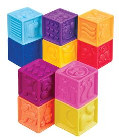 B. Toys One-Two-Squeeze blocks are a perfect gift for a 1 year old! Stack them, squeeze them, use them in the bath! Coloured and numbered. #toys #toddler #bath #blocks