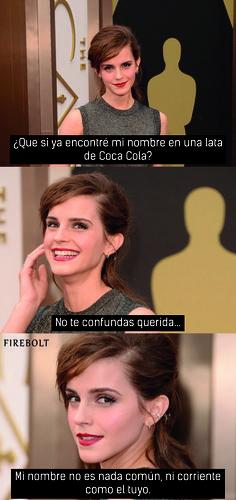 Mi primera imagen con más de 500 likes - Fue hermoso :') - Amo a Emma Watson <3 - Por si no lo recuerdan es sobre la campaña de Coca Cola de buscar tu nombre .-.