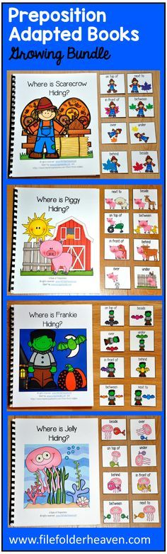 The Preposition Adapted Books Growing Bundle is packed full of adapted books that teach colors and prepositions or words of position, in a fun and interactive way. There are currently 23 adapted books in this growing bundle and more are on the way!