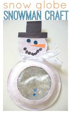 Snow globe snowman craft for kids