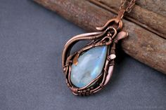 Moonstone necklace, Wire wrap necklace, Wire wrapped jewelry, handmade necklace, Copper pendant