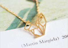 Zierliche Origami Eichhörnchen Collier, kleine Eichhörnchen Halskette, niedlichen Eichhörnchen Halskette, Laser geschnittene Halskette, Gold / Silber minimalistischen Halskette