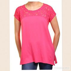 "DKNY Pink Cotton Lace Relaxed Fit Everyday Top Stylish tshirt for everyday wear. Sheer lace upper shoulder and sleeves give a unique look to this comfortable shirt. 60% Cotton lace detailing. Machine Wash. Size Guide: Small (Length: 24.5"") Relaxed fit. 20 inches underarm to underarm. Regular length over hips. Round neck. Short sleeved Soft fabric & Texturized fabric. 40% Modal & . Size small but could fit a medium.  Leapord Heels shown in picture are also for sale in my closet!  DKNY Tops…"