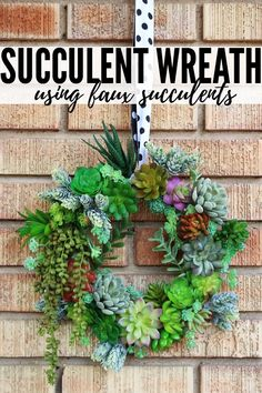 Succulent Wreath Tutorial Create a gorgeous succulent wreath using faux succulents that really make a statement! a gorgeous succulent wreath using faux succulents that really make a statement! Artificial Succulents, Faux Succulents, Faux Plants, Planting Succulents, Colorful Succulents, Succulent Wreath, Succulent Ideas, Succulent Containers, Succulent Gifts