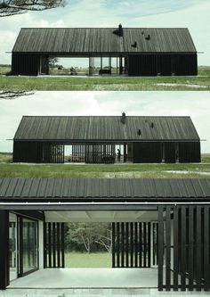 Gotland Summer House, by Jens Enflo (Enflo) & Morten Vedelsbøl (DEVE), 2011 Love the moveable privacy wall of courtyard and simple shape of architecture. Architecture Durable, Contemporary Architecture, Architecture Design, Scandinavian Architecture, Landscape Architecture, Modern Barn House, Casas Containers, Shed Homes, Exterior Design
