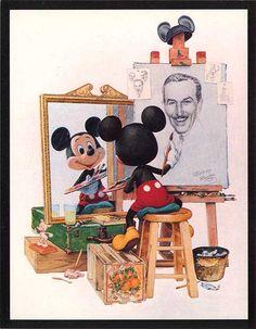 ''Self Portrait'' Walt Disney and Mickey mouse.this is by far my favorite of all disney art Walt Disney Mickey Mouse, Disney Pixar, Disney Merch, Deco Disney, Art Disney, Disney Films, Disney And Dreamworks, Disney Love, Disney Magic
