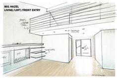 Interior renovation ideas sketch.