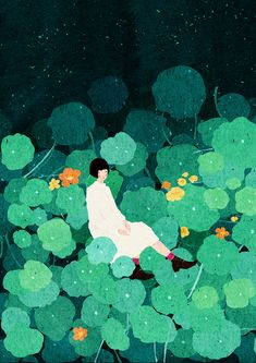 Repost from - There's something magical and mesmerizing about this wonderful and unique illustration by Xuan Loc Xuan. Acrylic Landscape, Posca Art, Green Art, Art Graphique, Illustrations And Posters, Art Plastique, Digital Illustration, Garden Illustration, Magazine Illustration