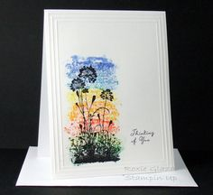 Silhouettes on Colors. She applied markers onto the acrylic block then misted with water and stamped onto watercolor paper. Beautiful!!