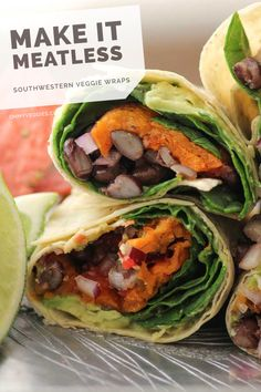 Southwestern Veggie Wraps ohmyveggies.com  #vegetarian_recipes #meatless_recipes