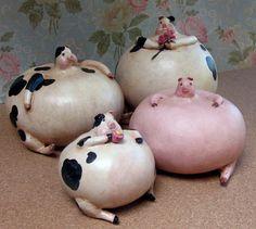 Pig Folk Art Gourd Sculptures