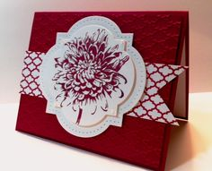 lovely handmade card: Focus on the Bloom by lbirus ... die cuts, piercing and embossing folder texture ... like that the card is only white and Raspberry Ripple ... ads a graphic touch and unifies all the parts ... Stampin' Up!
