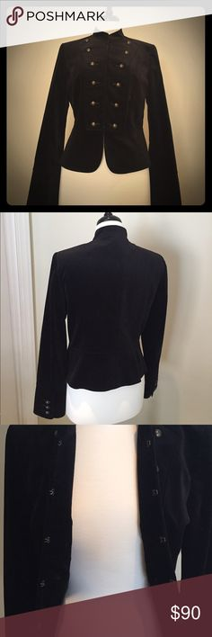 Antonio Melani military style Blazer 8 Black warm cotton outside. Nicely lined. 6 double buttons up the front. 5 eye hook closures. 3 buttons on each sleeve cuff. No signs of wear, tears, or stains. ANTONIO MELANI Jackets & Coats