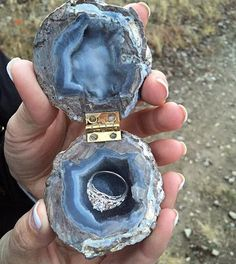 Geode ring box!  of course she said yes!  >> made by @grimshaw_minerals << Photo found on Facebook via Utah Rockhounding ⚒  wedding rings pictures, simple, vintage, sets, wedding rings sets, kay jewelers wedding rings, wedding rings for men, zales wedding rings, cheap wedding rings, womens wedding ring sets, unique wedding bands