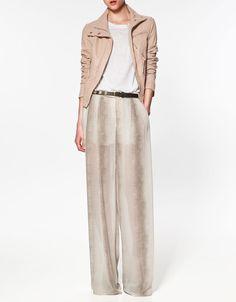 ZARA leather jacket in my closet: blush leather jacket, cream MNG maxi skirt w/ slit