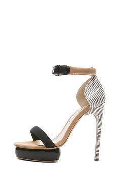 939c4359af8 Shop for Nicholas Kirkwood Elaphe Snakeskin Leather Stacked Heels in Black    Black Stripe   Beige at FWRD.