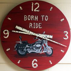 21 Harley Motorcycle Clock by RusticLodgeDecor on Etsy, $160.00