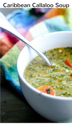 Delicious and healthy Caribbean callaloo soup recipe featuring green leafy vegetables slowly simmered with fresh okra, peppers, and coconut milk. Okra Recipes, Chili Recipes, Soup Recipes, Great Recipes, Vegan Recipes, Callaloo Soup Recipe, Caribbean Recipes, Carribean Food, Vegan Soups