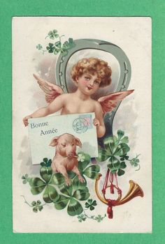 S.B. Cute ANGEL w/a CARD, LITTLE PIG w/ CLOVER, HORN & New Year HORSESHOE  UDB