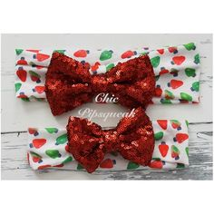 Sequin Bow Headband, Red Sequin Bow on Red/Green Lights