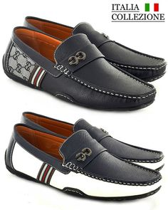 Mens Designer Loafers Leather Look Italian Driving Shoes Slip On Gents Shoes £17.95