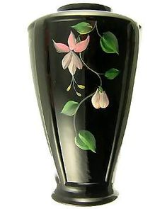 Fenton Art Glass Black glass vase. Hand painted floral relief. I like black - since it goes with any room or, more importantly, any flower!