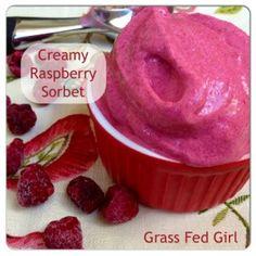 Easy Raspberry Sorbet (Paleo, Dairy Free, Low Carb) -Serves 2 ---coconut milk (full fat can) frozen raspberries , gelatin, Stevia or honey
